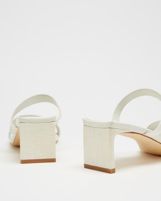 AERE Asymmetrical Strappy Linen Heels - Mid-low heels (Off White Linen)