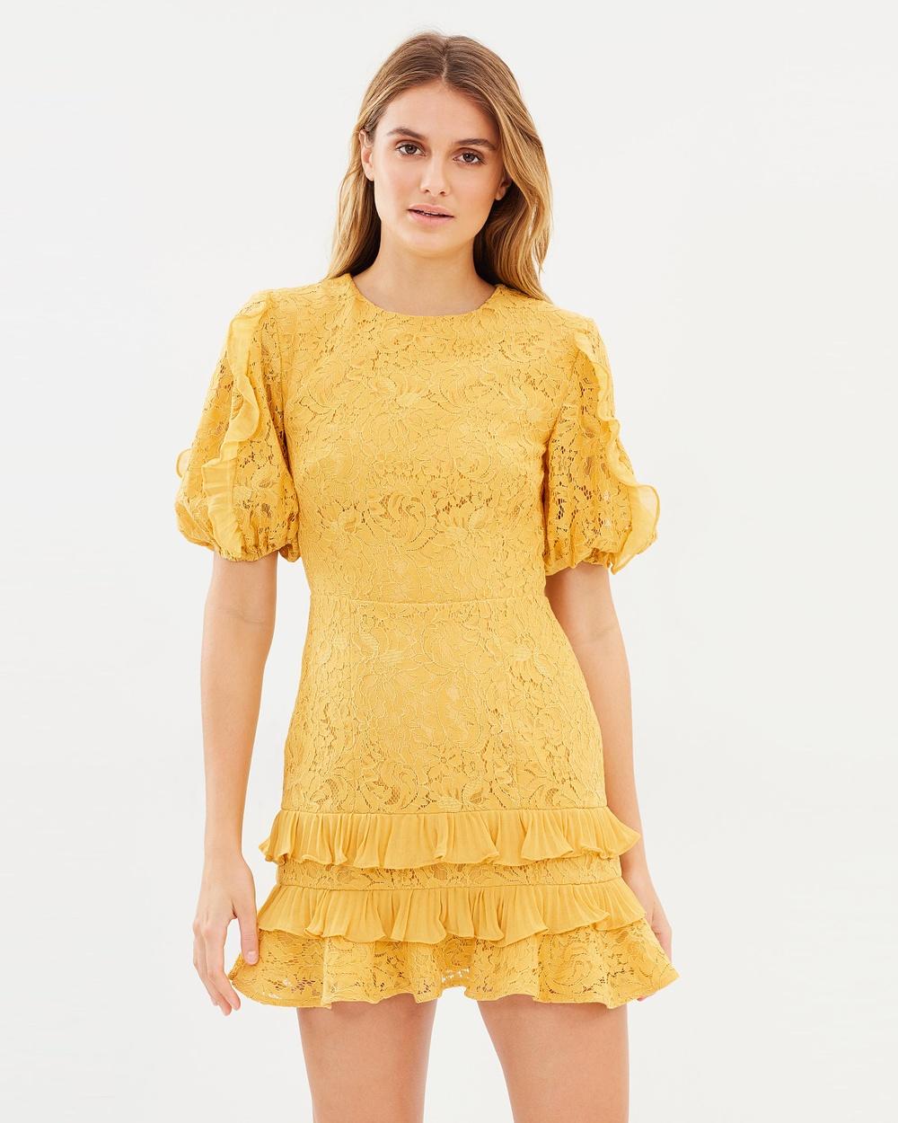 Photo of Keepsake the Label Golden Yellow Timeless Lace Mini Dress - buy Keepsake the Label dresses on sale online