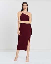 One-Shoulder Fitted Midi Dress with Belt