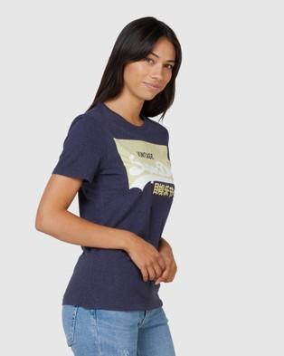 Superdry Superdry Organic Cotton Vintage Logo Pastel T Shirt - T-Shirts (Montauk Navy)