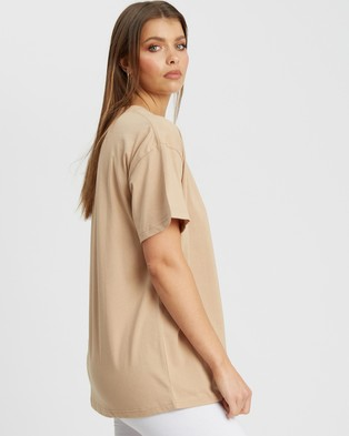 BWLDR Oversized T Shirt - T-Shirts & Singlets (Tan with White Logo)