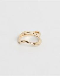 Joanna Laura Constantine - Gold Plated Feminine Waves Signet Ring