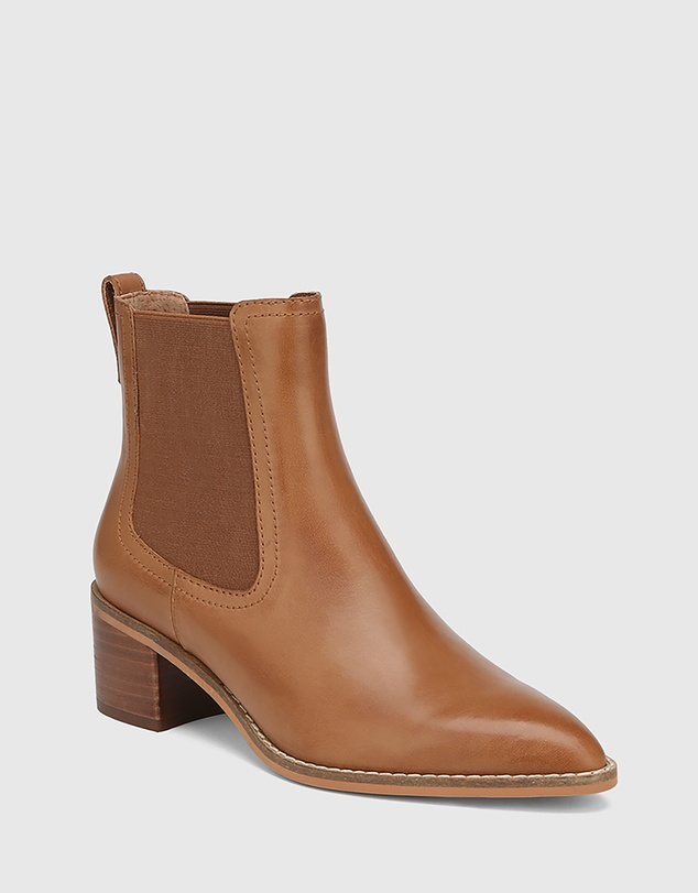 Women Jenae Leather Elastic Gusset Ankle Boots