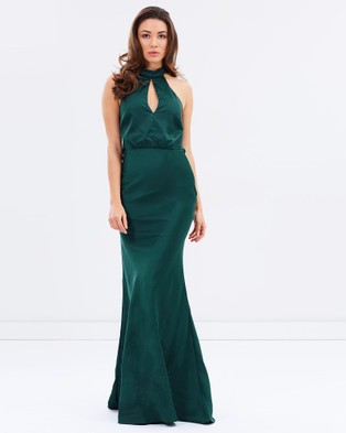 Bariano – Sage High Neck Bias Cut Satin Gown – Dresses (Forest Green)