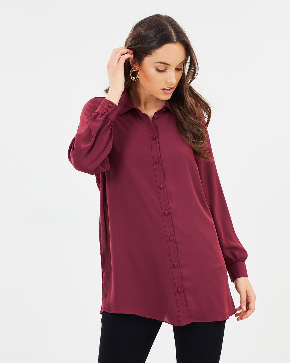 Wallis Back Pleat Shirt Tops Burgundy Back Pleat Shirt