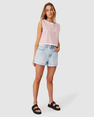 Cotton On The Boyfriend Chop Muscle Tank - Cropped tops (Tolly Stripe White & Red Clay)