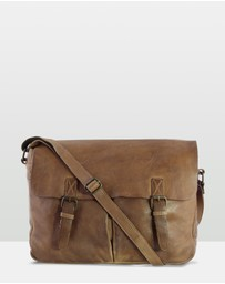 Cobb & Co - Gatton Washed Leather Laptop Messenger