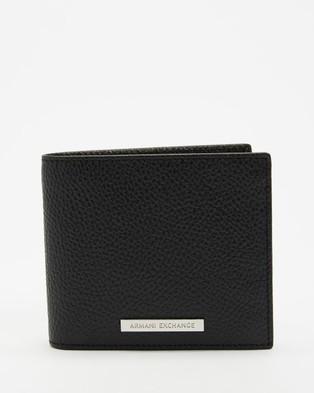 Armani Exchange Bi Fold Wallet & Keychain Set - Wallets (Black)