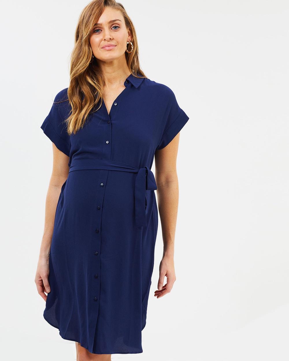 DP Maternity Shirt Dress Dresses Navy Blue Shirt Dress