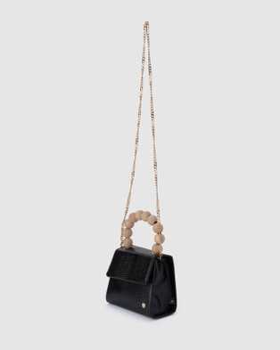 Olga Berg Caylee Wood Bead Handle Bag - Handbags (Black)
