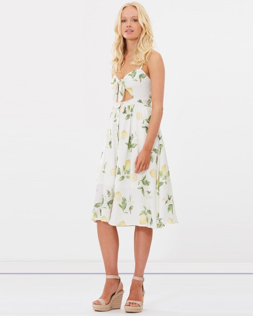 Charlie Holiday Lemon Floral Capri Midi Dress