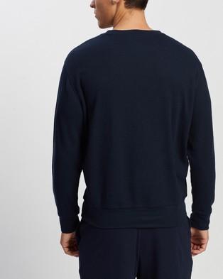 Marks & Spencer Crew Neck  Waffle Sweater - Sleepwear (Navy)
