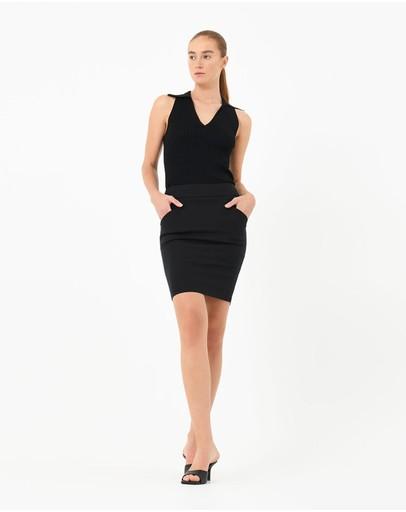 Forcast Sandy Pencil Skirt Black