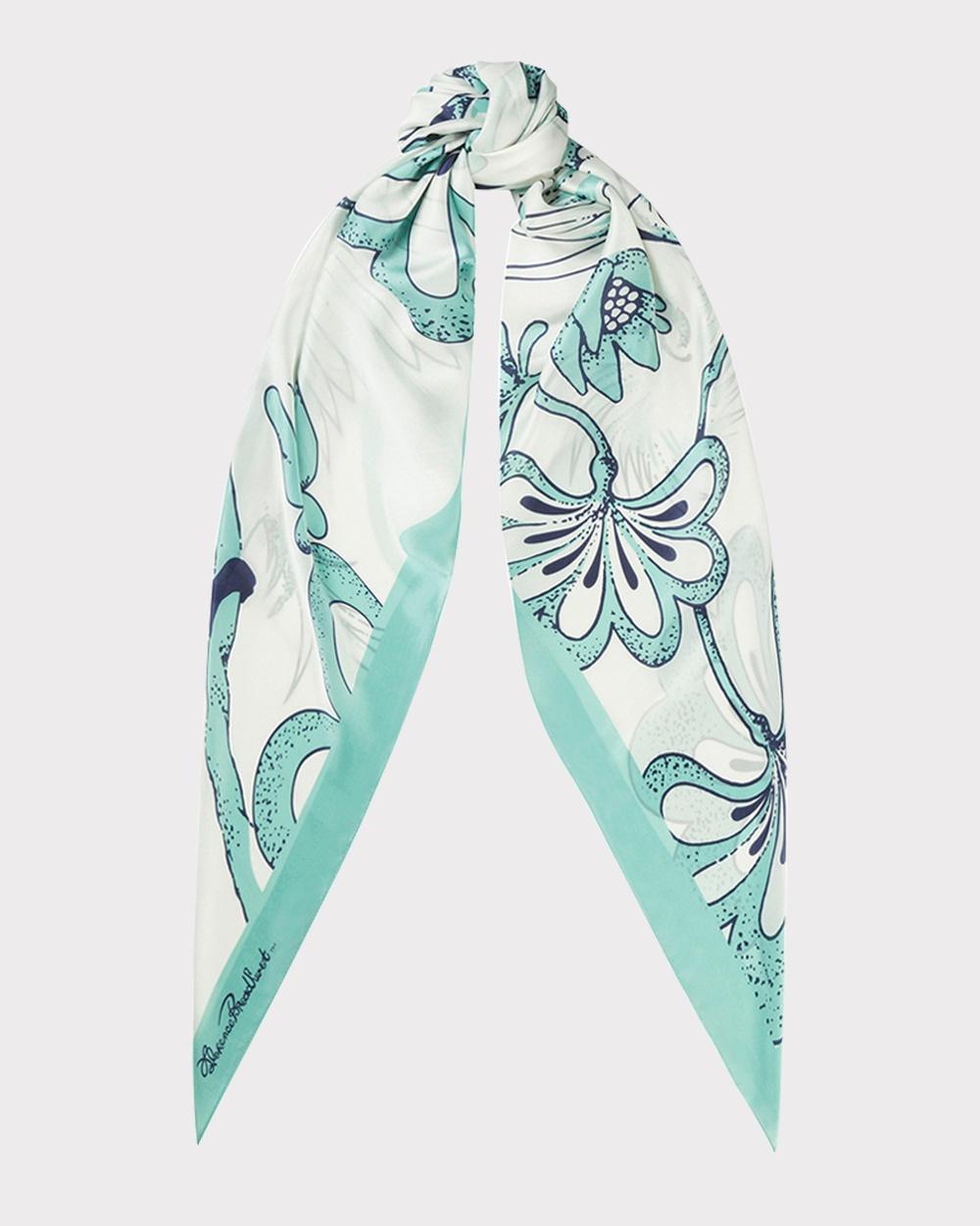 Florence Broadhurst Egrets Silk Scarf Scarves & Gloves Teal