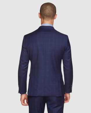 Oxford Byron Wool Stretch Checked Jacket - Suits & Blazers (Blue)