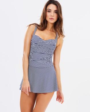Nip Tuck SWIM – Twist Front Multifit Swim Dress – One-Piece Swimsuit Navy & White