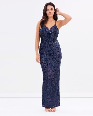 Bariano – Ruby Sequin Low Back Gown – Bridesmaid Dresses Navy Nude