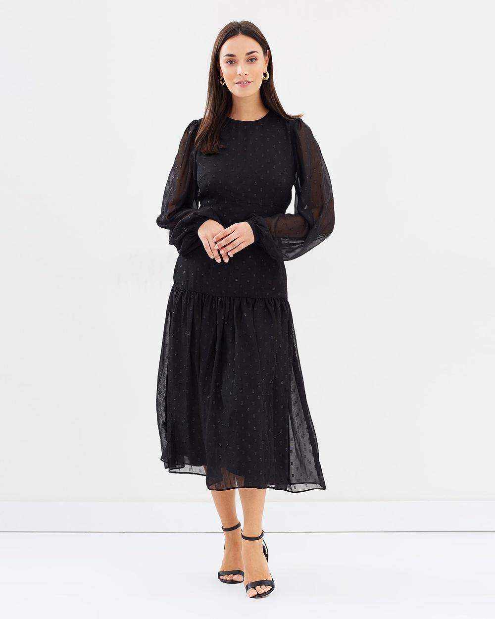Cooper St Schiffer Long Sleeve Midi Dress Dresses Black Schiffer Long Sleeve Midi Dress
