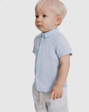 Country Road - Short Sleeve Linen Shirt - Shirts & Polos (blue) Short Sleeve Linen Shirt