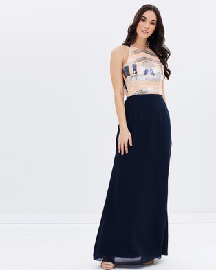 Alabaster The Label – Queen Of The Night Dress – Bridesmaid Dresses (Navy & Champagne)