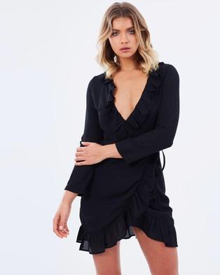 Lioness – Chiffon Wrap Dress – Dresses (Black)