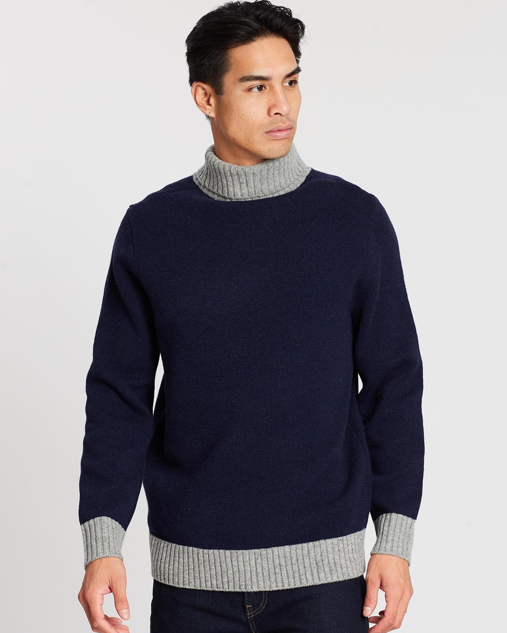 3 Wise Men The Noel Roll Neck Knit Jumpers & Cardigans Navy Heather Grey