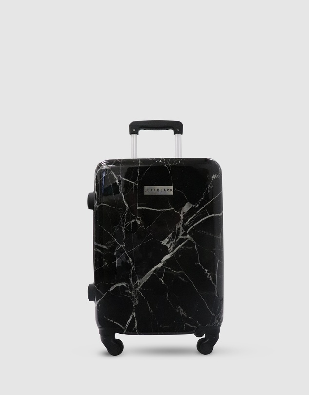 Men Black Marble Carry On Suitcase