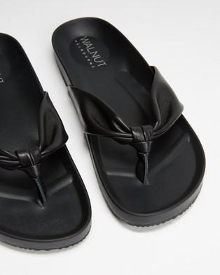 Walnut Melbourne Bondi Leather Slides - All thongs (Black)