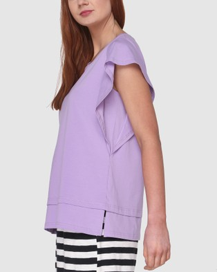 Lincoln St Frilled Sleeve Top - Tops (Lilac)
