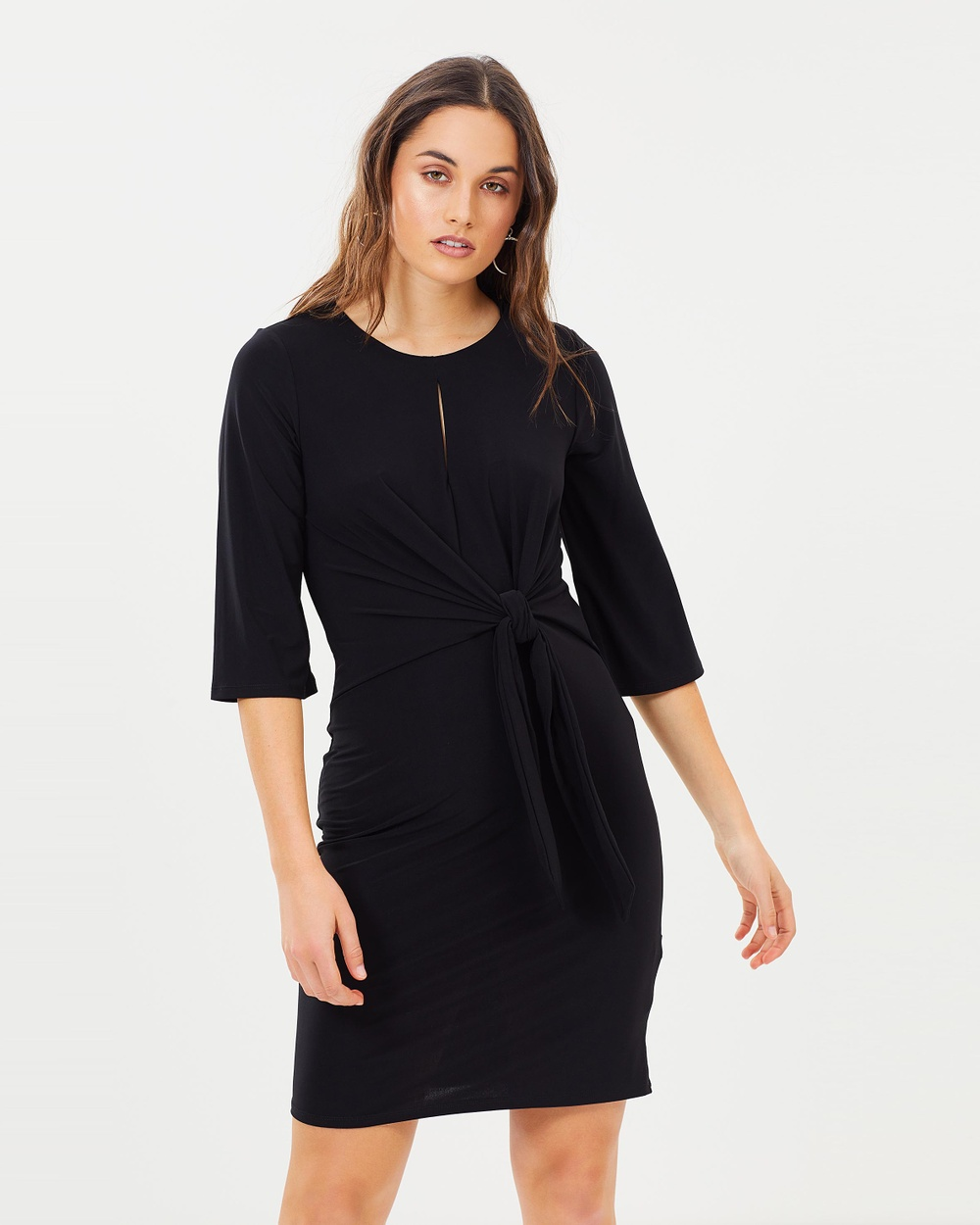 Wallis Tie Front Jersey Dress Dresses Black Tie Front Jersey Dress