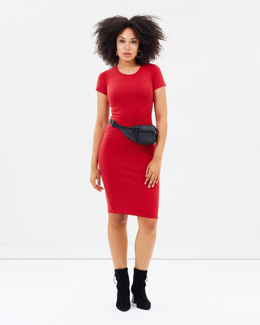 Missguided Ribbed Mini Dress Bodycon Dresses Red Ribbed Mini Dress