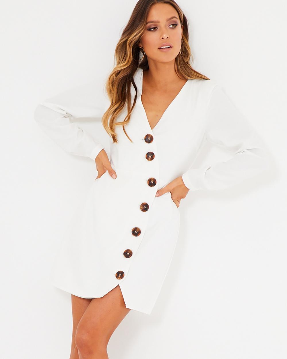 Calli White Emelia Button Dress