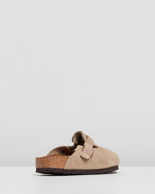 Birkenstock Womens Boston Suede Leather Narrow Shoes - Clogs (Taupe)