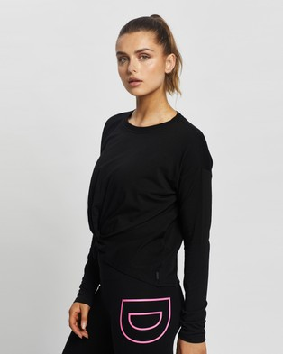 DKNY Twist Front Long Sleeve - Long Sleeve T-Shirts (Black)