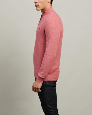 Polo Ralph Lauren ICONIC EXCLUSIVE   Long Sleeve Half Zip Sweater - Jumpers & Cardigans (Salmon Heather)