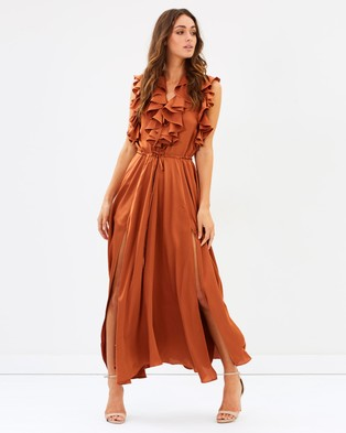 Shona Joy – Solar Ruffle Midi Dress – Bridesmaid Dresses Copper