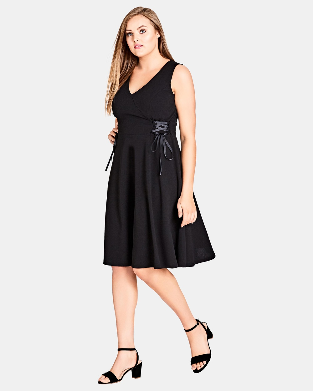 City Chic Side Lace Dress Dresses Black Side Lace Dress