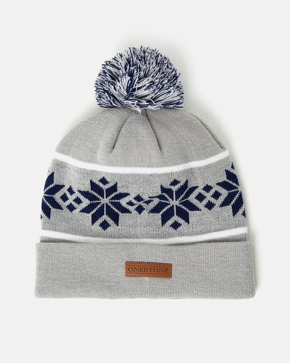 ONEBYONE Snow Leopard Beanie Headwear Marble Grey