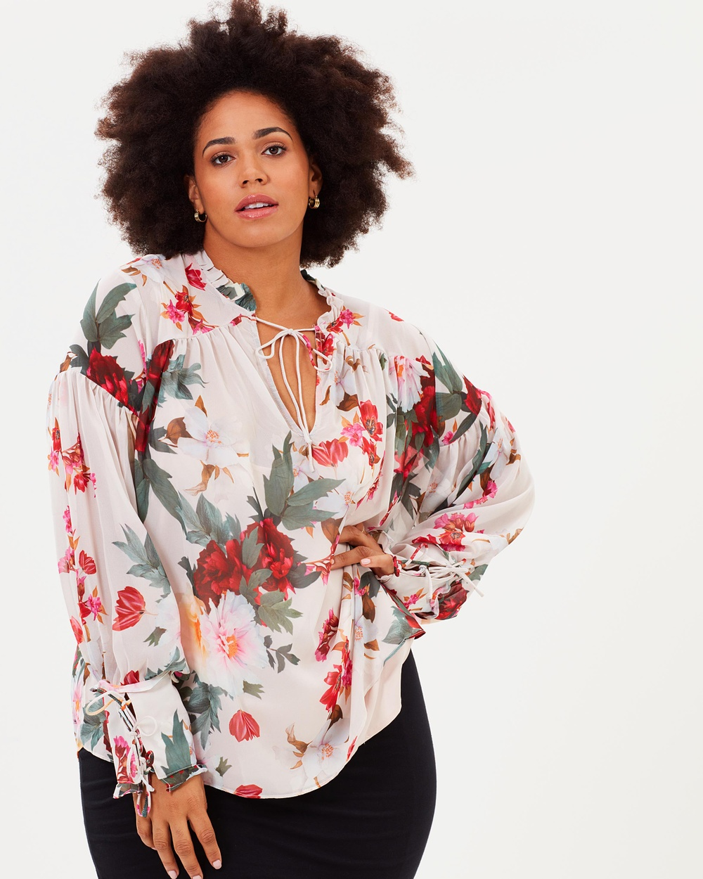 Cooper St CS CURVY Rosa Long Sleeve Top Tops Print CS CURVY Rosa Long Sleeve Top