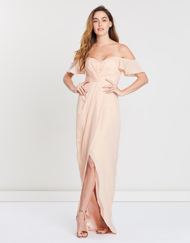 Kendall Strapless Draped Gown by Bariano Online | THE ICONIC | Australia