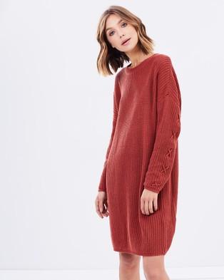 Buy MINKPINK - Lace Up Knit Dress Brick -  shop MINKPINK dresses online