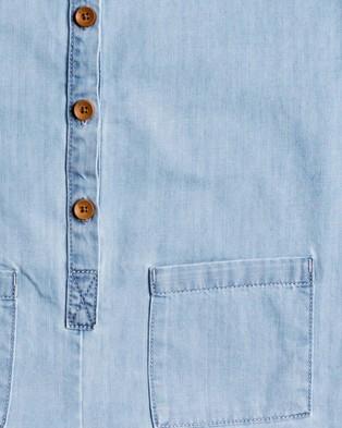Roxy Girls 4 14 Morning Light Lightweight Buttoned Denim Playsuit - Rompers (Light Blue)