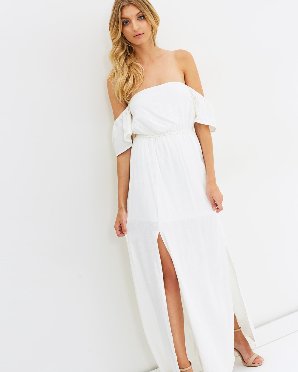 Atmos & Here ICONIC EXCLUSIVE Dhalia Off Shoulder Maxi Dress Dresses White ICONIC EXCLUSIVE Dhalia Off-Shoulder Maxi Dress