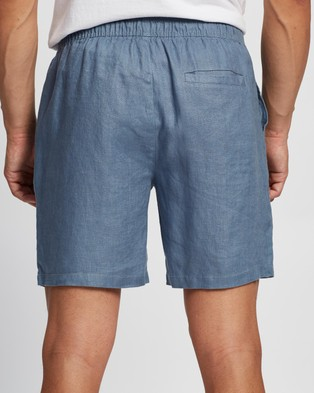 AERE Linen Pull On Shorts Blue