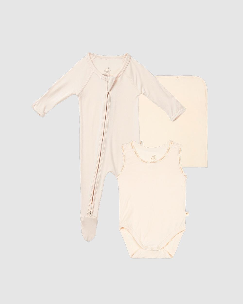 Boody Take Bub Home Gift Set 3 items Wraps & Blankets Chalk/Chalk
