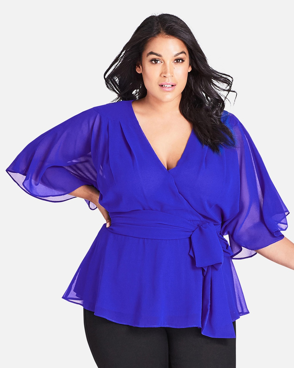 City Chic Elegant Wrap Top Tops Ultra Blue Elegant Wrap Top