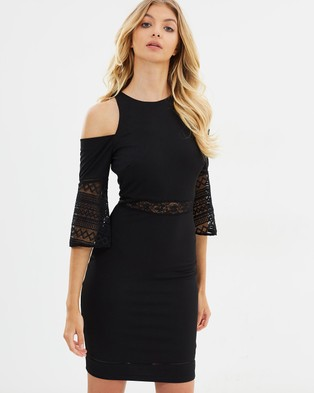 Atmos & Here – Karina Cut Out Sleeve Dress – Bodycon Dresses Black