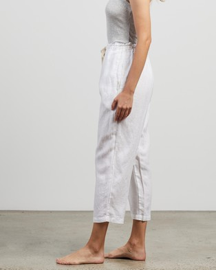 IN BED 100% Linen Pants - Sleepwear (White)