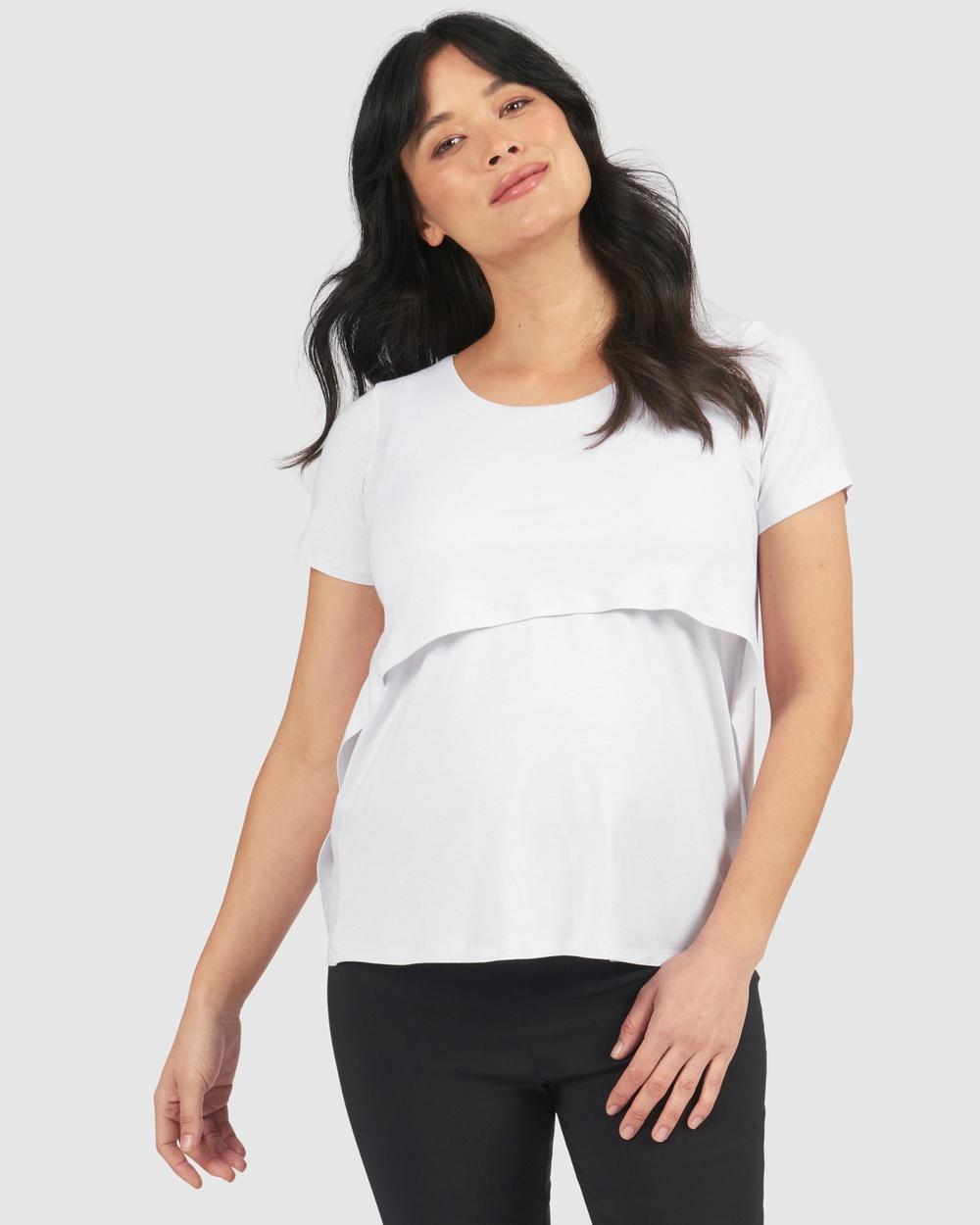 Pea in a Pod Maternity Lyla Nursing Top T-Shirts & Singlets White Linen
