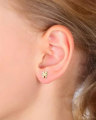 Elli Jewelry Kids Earrings Reindeer Swarovski® Crystals Gold Plated 925 Sterling Silver Jewellery Gold